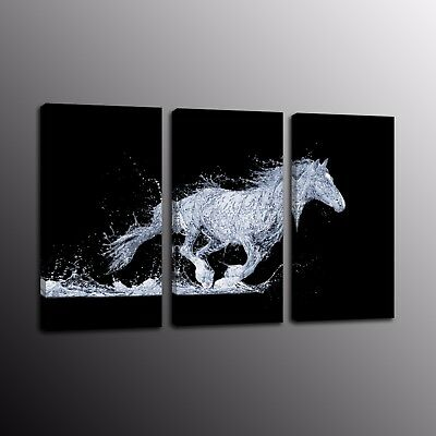 Large Running Horse Home Wall Decor Abstract HD Canvas Print Oil Painting 3pcs