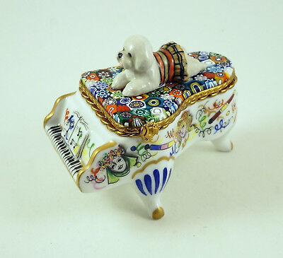 New French Limoges Trinket Box Bichon Frise Dog Puppy On Grand Piano Murano Top