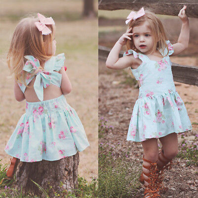 Floral Newborn Baby Girls Flower Bow Tutu Dress Party Princess Pageant Dresses