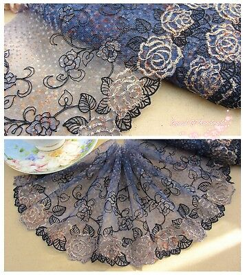 "6""*1Y Embroidered Tulle Lace Trim~Ink Blue+Black+Gold~Gorgeous Gold Rose~Costume"