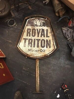 Vintage Royal Triton Motor Oil double sided rusty original sign mount only rare