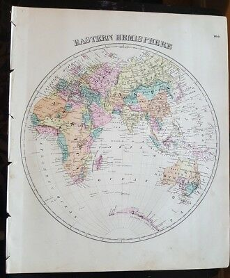 Antique Map - EASTERN HEMISPHERE - Warner & Beers/Union Atlas Co. 1876