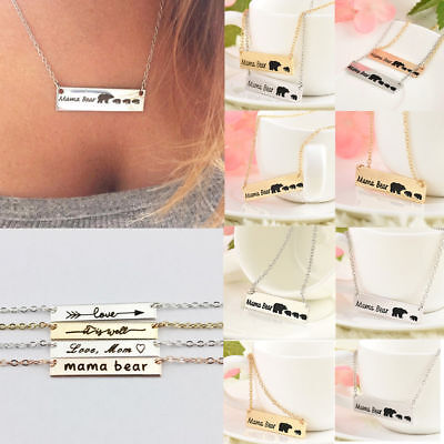 Vintage Women Engraved Mama Bear Bar Pendant Necklace Mother's Day Jewelry Gift