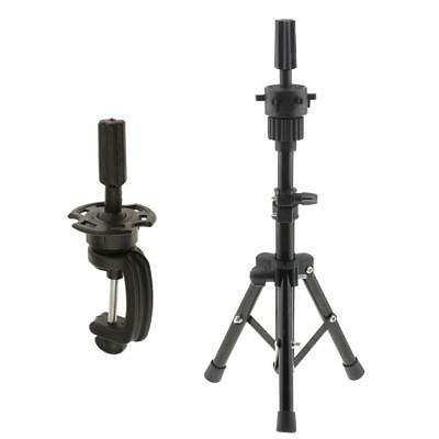 Metal Cosmetology Mannequin Practice Head Holder Tripod Stand with Clamp Set