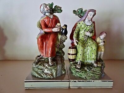 Rare Pair Early Staffordshire Pearlware Figures Elijah and the Widow c1820