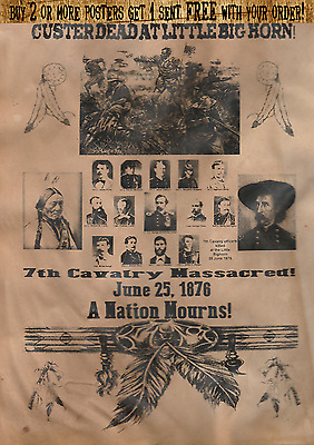 Wanted Poster Custer Sitting Bull Army Calvary Crazy Horse Big Horn Indian War