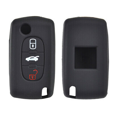 3 Button Silicone Car Key Cover Case For Peugeot Citroen Remote Fob Protector