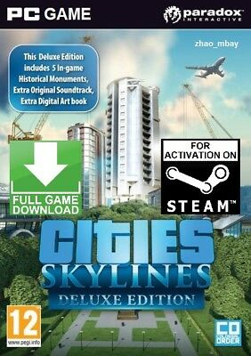 Cities Skylines Deluxe Edition PC GLOBAL STEAM GAME (NO CD/DVD) FAST DELIVERY!
