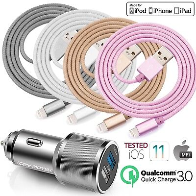 MFi Lightning Charger Cord+ Fast Car Charger For iPhone X 8 7 6 5 5S 5C iPad