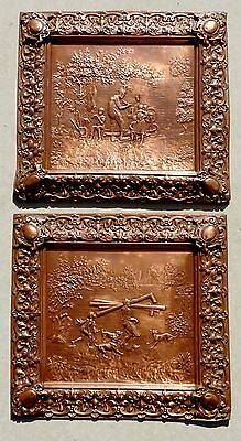 RARE pair VICTORIAN electrotype REPOUSSE COPPER PLAQUES pictures tinker TINSMITH