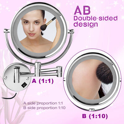 LED 7X makeup mirror 8 Inch Two-Sided Swivel Lighted Wall Mount Makeup Mirror