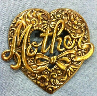 VINTAGE BROOCH PIN - FILIGREE BRASS 'MOTHER HEART' - Beautiful - MOTHER'S DAY!