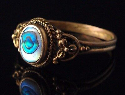 Antique Brass Messing Ring Abalone Mother of pearl Perlmutt Seeopal antik