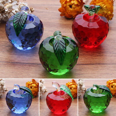 3D Faceted Crystal Glass Apple Figurine Paperweight Decor Valentine's Gift Fruit
