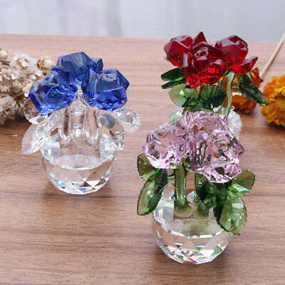 Crystal Cut Rose Flower Glass Figurines Wedding Decor Valentine's Day Gift Home