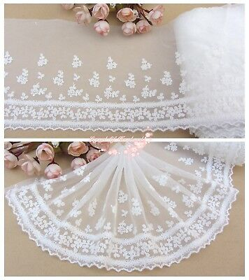 "7""*1Y Embroidered Floral Tulle Lace Trim~Ivory White~Gentle Songs~Wedding/DIY~"