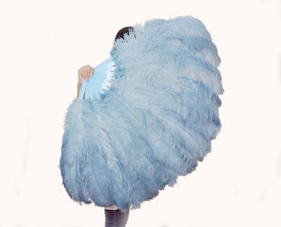 """Baby blue 2 layer Ostrich Feather Fan 30""""x 54"""" with Travel Bag Burlesque friends"""