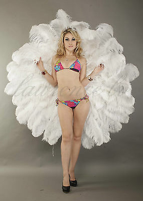 custom Tribute 360° ostrich feather fan Backpiece Harnesses profession perform