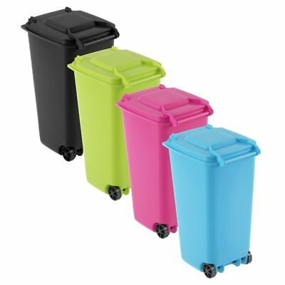 Mini Wheelie Bin Desk Tidy Office Desktop Stationery Organiser Pencil Holder pU