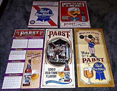 Lot of 5 Pabst Blue Ribbon Beer 1960's - 70's Vintage Posters, Mi9lwaukee Wis,