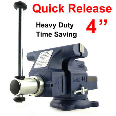 """Quick Release 4"""" 100mm Heavy Duty Engineers Bench Vice 6"""" Opening Semi Precision"""