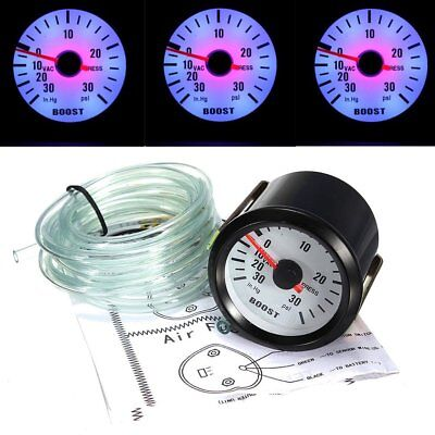 "2"" 52mm LED Car Turbo Boost Gauge PSI Pointer with Blue LED Backlight 0~30PSI wU"