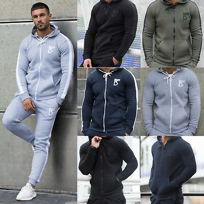 Mens Fleece Hoodie Tracksuit Top Designer Slim Fit Hooded Fitness Gym Zip Hoody