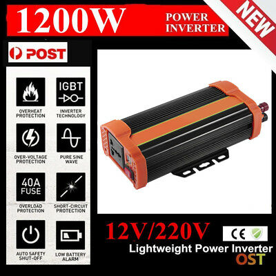500/1200W Peak Sine Wave Power Inverter DC 12V to AC 220V New Car Caravan be