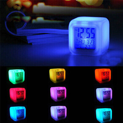 Digital LED Alarm Cube 7 Colors Clock Snooze Light Control Calendar Thermometer