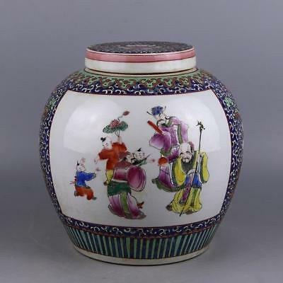 Chinese Old Marked Famille Rose Colored Fu Lu Shou Lord Flower Porcelain Lid Jar