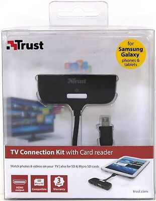 New Sealed Trust TV Connection Kit SD MicroSD Card Reader HDMI Output USB