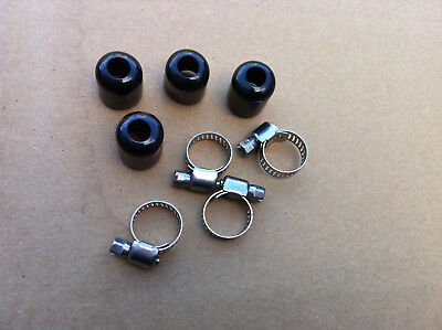 4 X Stainless Steel Braided Hose 14mm Rubber Push On End Caps Finishers, Clips