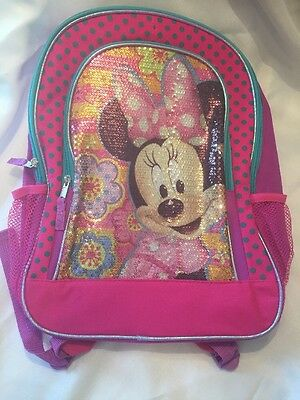 "Disney Junior Girl's Minnie Mouse 16"" School Bag Backpack-Pink Sequins NWT"