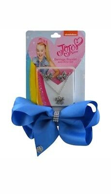 JoJo Siwa Blue w/Rhinestone Center Hair Bow, Bracelet & Earrings Set For Girls