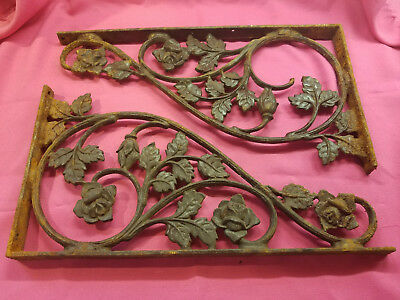 Pair antique cast iron shelf brackets 18  by 9 3/4 inches rose leaf swirl motif