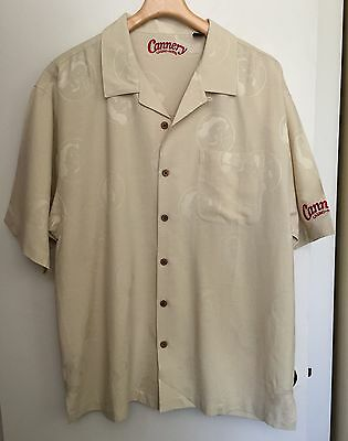 NEW☀CANNERY Casino Hotel Vegas Buttoned Shirt Embossed Pin Up Girl XL Silk
