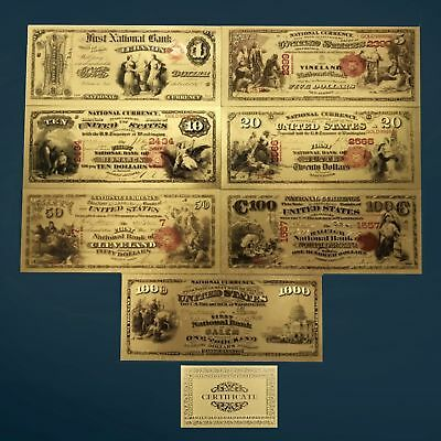 24K Gold Plated 1875 $1-$5-$50-$100-$1000 Us Currency Banknote Money Novelty
