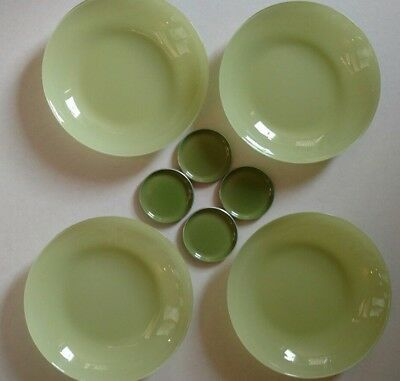 Emalox Retro Green 60s Norway Enamel Dish Set of 4 and Green glass plates.