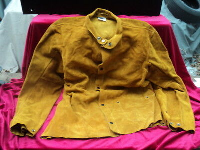 Steiner Industries Yellow Tan Heavy Suede Leather Welding Jacket Coat Size XL