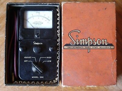 Vintage Simpson Model 362 Low Range Ohmmeter - Original Box, Test Leads & Manual