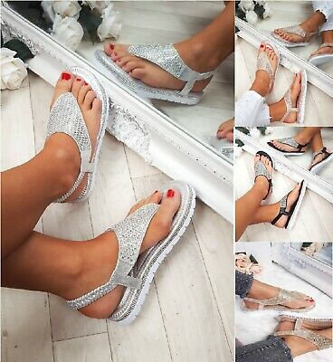 Ladies Womens Flat Low Wedge Platform Heel Diamante Summer Sandals Shoes Size