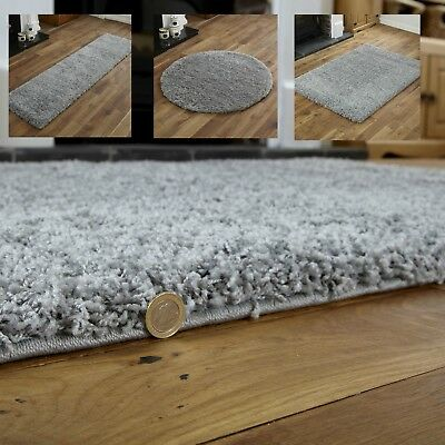 Modern Small Extra Large Grey Colour Thick 5Cm Pile Non-Shed Shaggy Rug Runners.