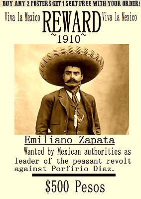 Old West Western  Wanted Outlaw Mexico Diaz  Revolution Poster  Pancho Army
