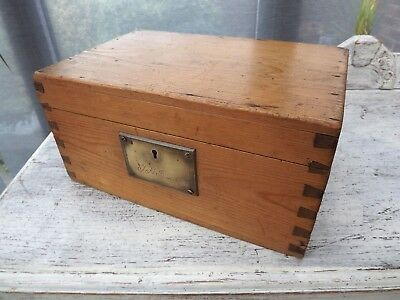 Vintage Pine Storage Box,Country/Rustic,Brass Plate & Lever Lock,Shabby Chic