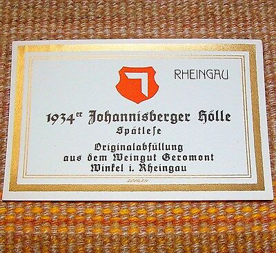 1934 Johannisberger Holle UNUSED German Wine Label VINTAGE near MINT