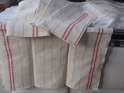'New' Vintage French Size 58x72cm Pure Linen Tea Towel x 1 Red Stripes