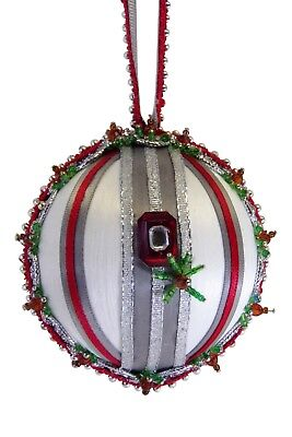 """SATIN BEADED CHRISTMAS ORNAMENT KIT - """"Hail To The Scarlet And Gray"""""""