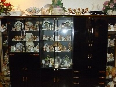Vintage Italian Black Lacquer Wall Unit China Cabinet 5 Pieces Lots of Storage