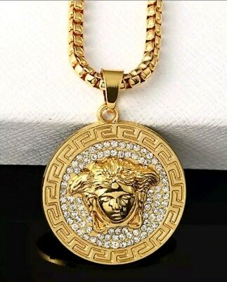 Iced Out Mens Gold Versace Style Medusa Head Crystal Pendant Necklace