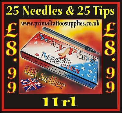 25 Tattoo Needles 11 RL + 25 Disposable Long Tips 11R - (Tattoo Supplies - Inks)